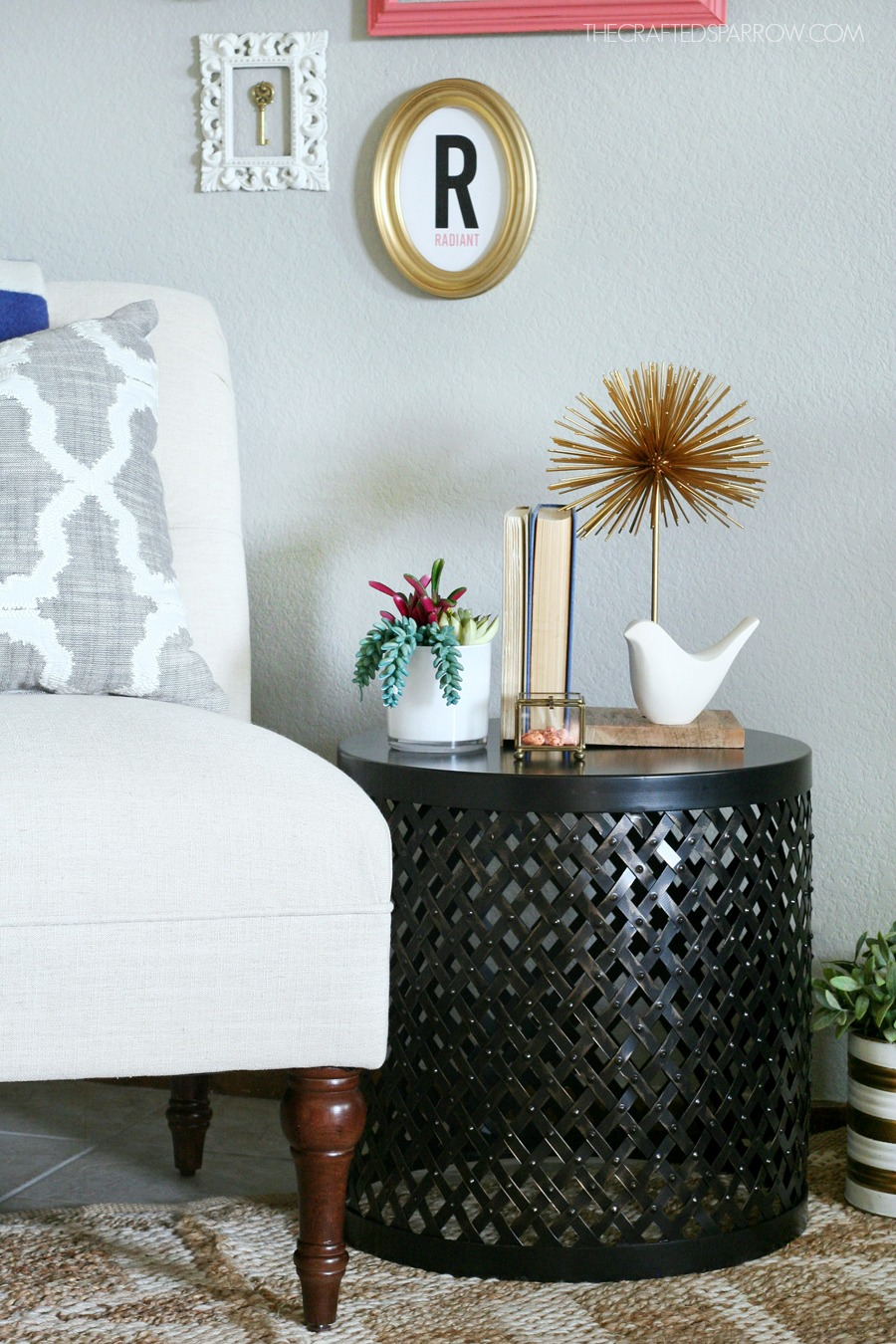 how decorate the right end table threshold accent white battery operated bedroom lights pottery barn pedestal brown metal coffee target cabinet cream console small grey bedside