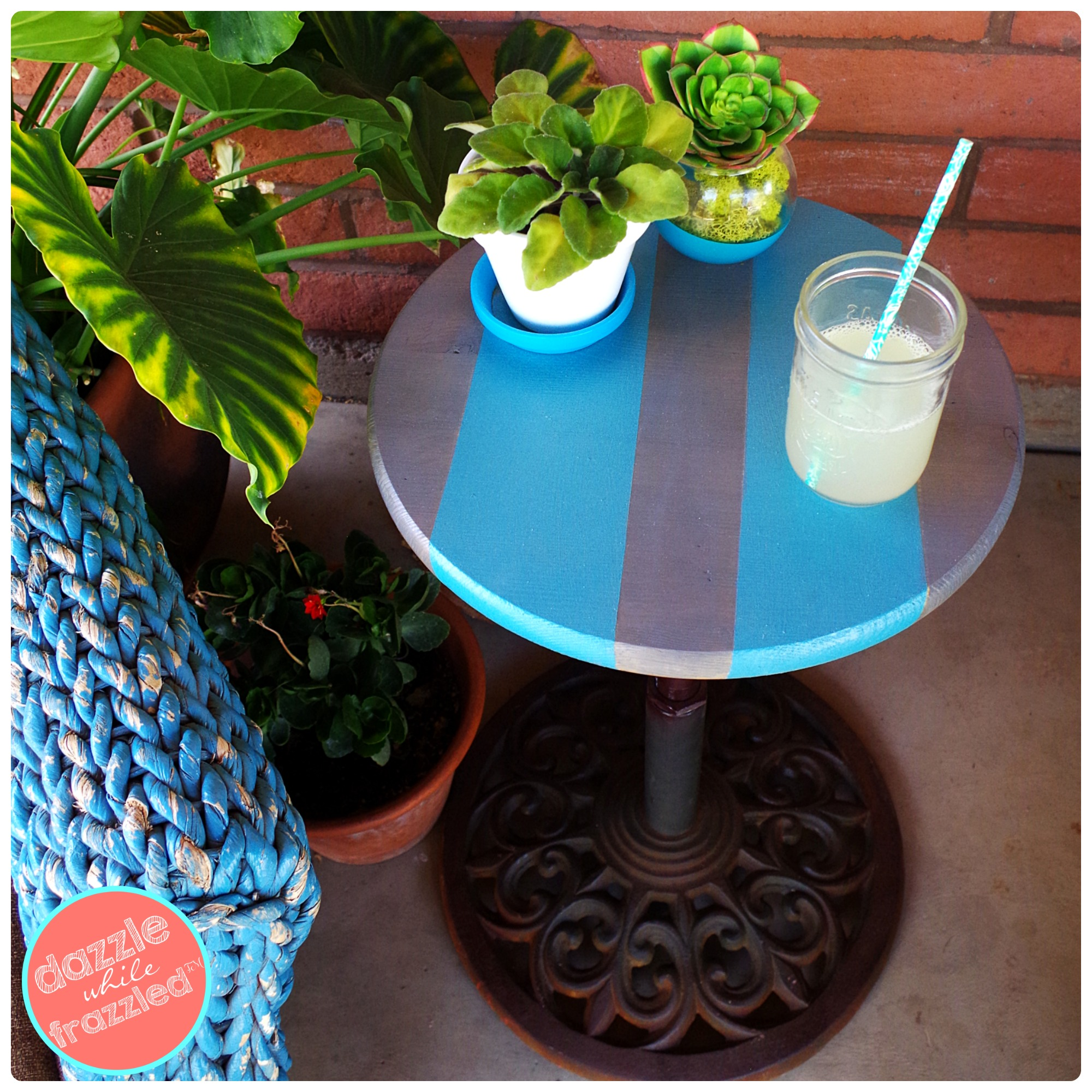 how make patio side table from old umbrella stand diy collage outdoor coffee storage ideas circular cotton tablecloths distressed round small contemporary folding nic bunnings