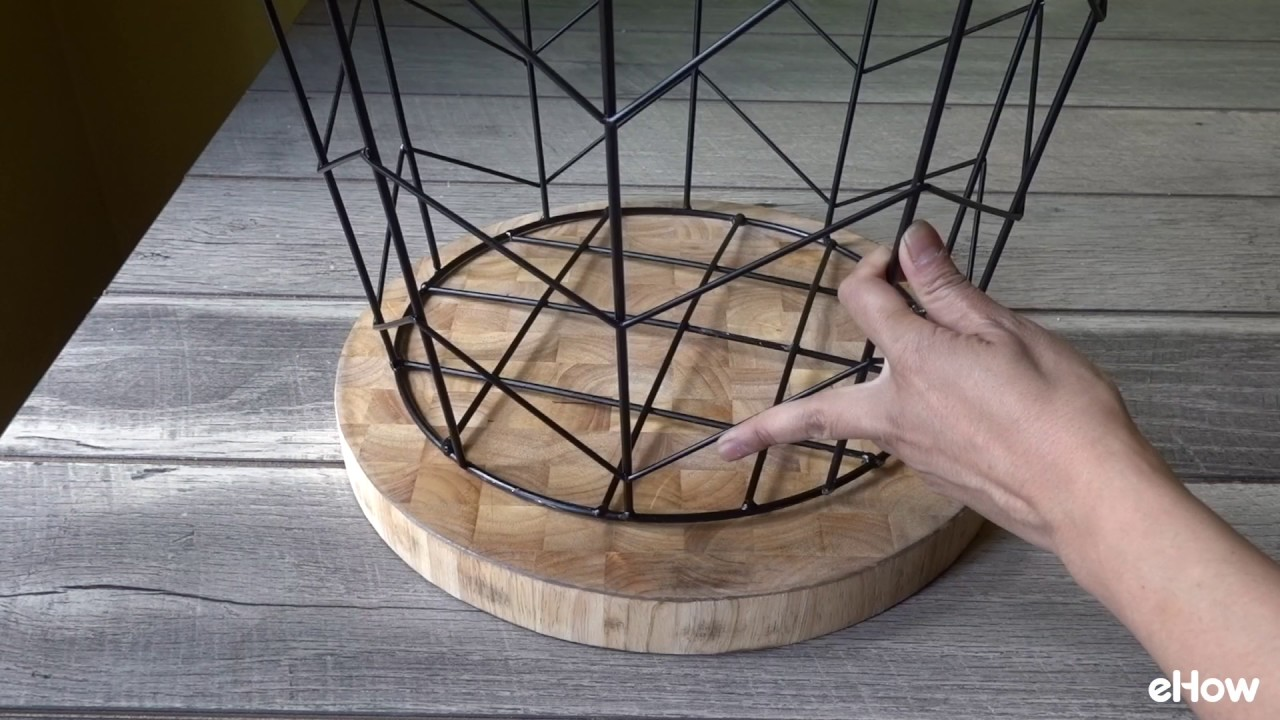 how make side table from wire basket accent with baskets umbrella coffee hall console drawers affordable dining sets uttermost dice red decorative storage cabinet doors antique