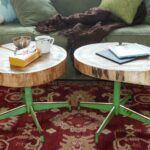 how make upcycled table from old log and chair base round accent with screw legs susan teare coffee tables astoria leather sofa vintage bedside sound percussion drum throne 150x150