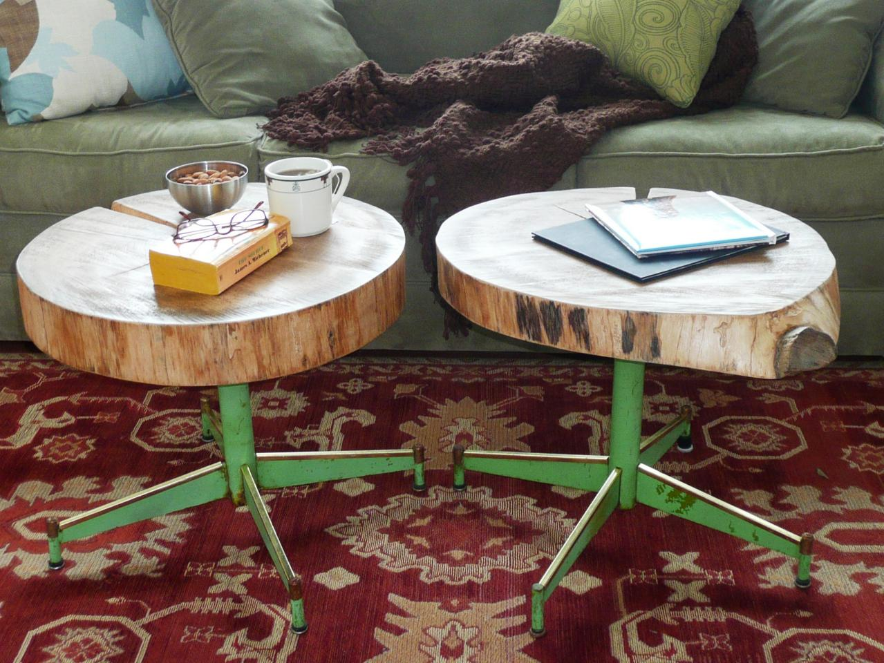 how make upcycled table from old log and chair base round accent with screw legs susan teare coffee tables astoria leather sofa vintage bedside sound percussion drum throne