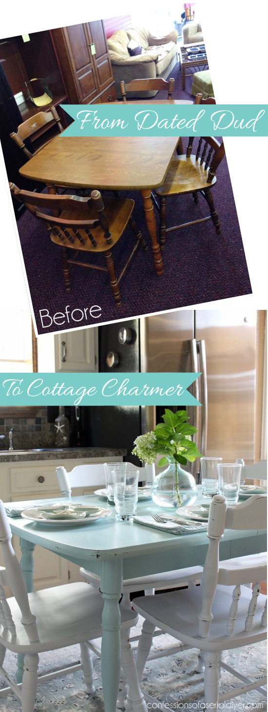 how paint laminate kitchen table and chairs before after living room accent snack with glass top from dated dud cottage charmer confessions semi circle contemporary armchair used