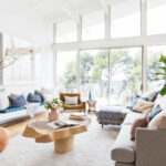 how styled our living room sell emily henderson staged boho mid century eclectic blue white couch sectional jules small accent table safavieh couture marble office pottery barn 150x150