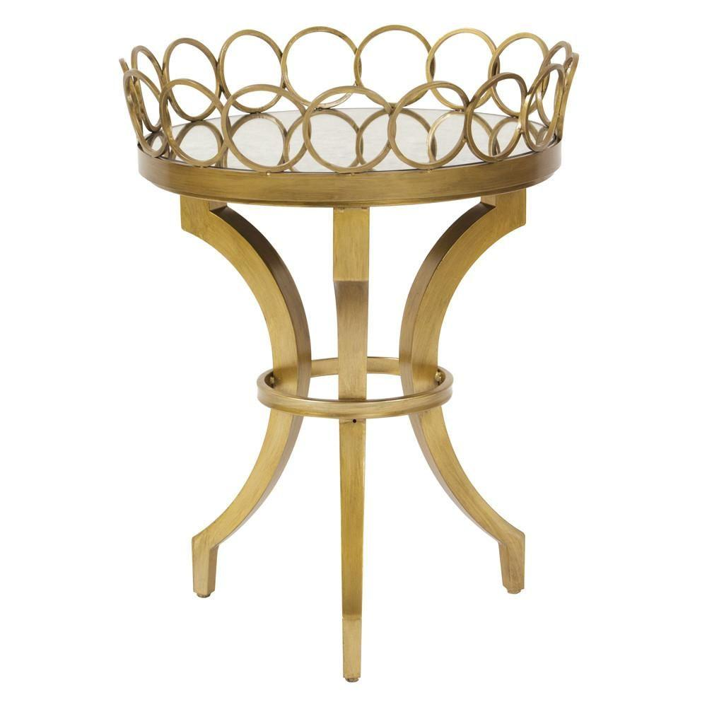 howard elliott bright gold accent table with removable tray side tables glass top nest outdoor sectional cover modern lamp shades coastal bathroom accessories narrow sofa console