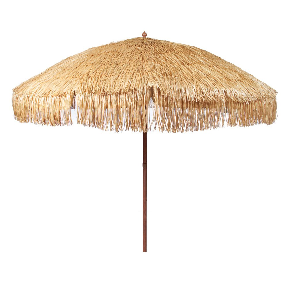 hula thatched tiki umbrella natural color outdoor stand side table garden vita silvia western light fixtures transitional furniture tall metal end decorative wall clocks and
