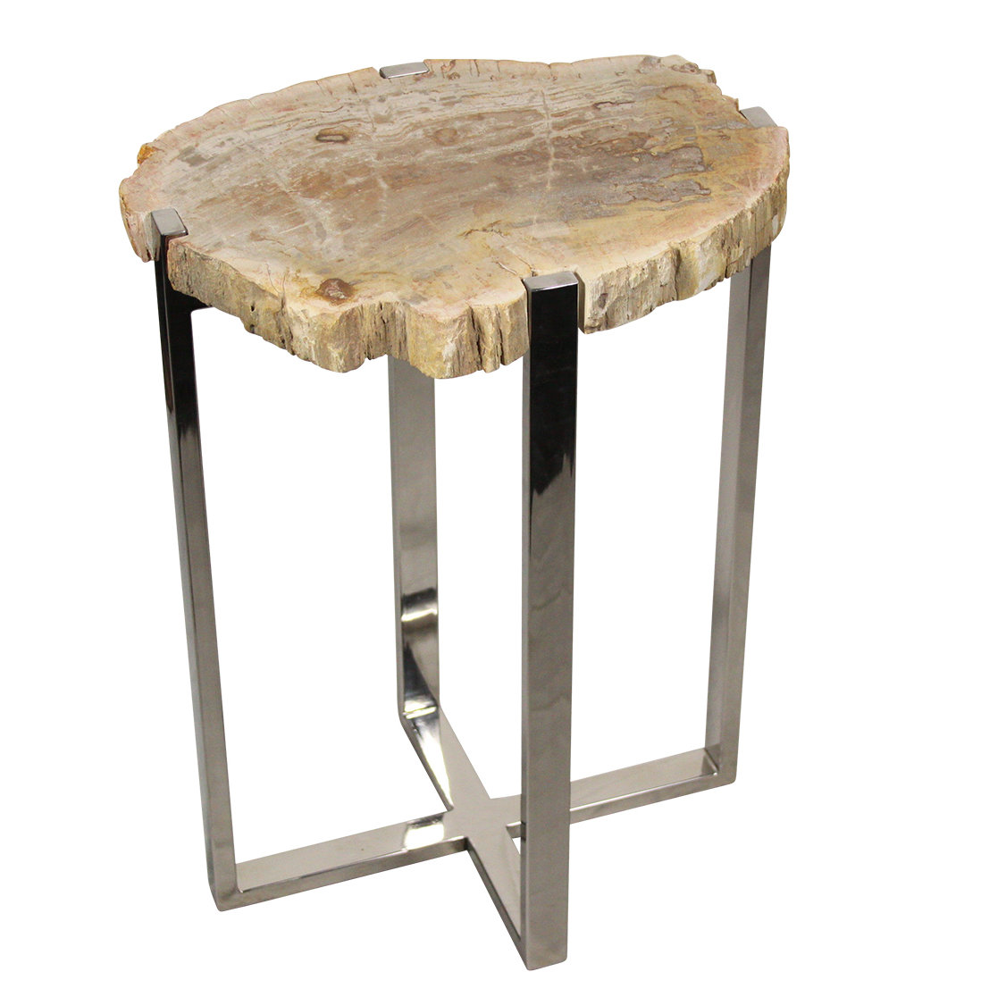 ibolili petrified wood end table accent white and brown side pub tops sofa with storage drawers percussion stool coffee gold accents hampton bay furniture square nesting tables