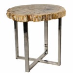 ibolili petrified wood end table accent wine holder sofa with storage drawers vintage retro dining and chairs step side ideas for living room counter height sets extra large 150x150