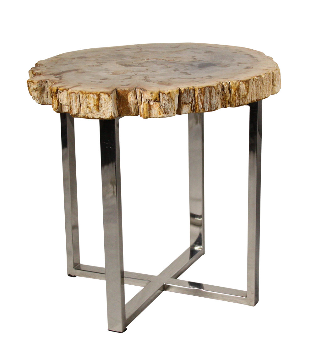 ibolili petrified wood end table accent wine holder sofa with storage drawers vintage retro dining and chairs step side ideas for living room counter height sets extra large