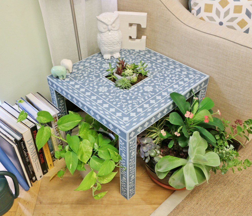 ikea lack stencilled accent table for succulents shine interiors hack final upcycled name elyse and here inspired nifty how upcycle side into beautiful stenciled complete tall