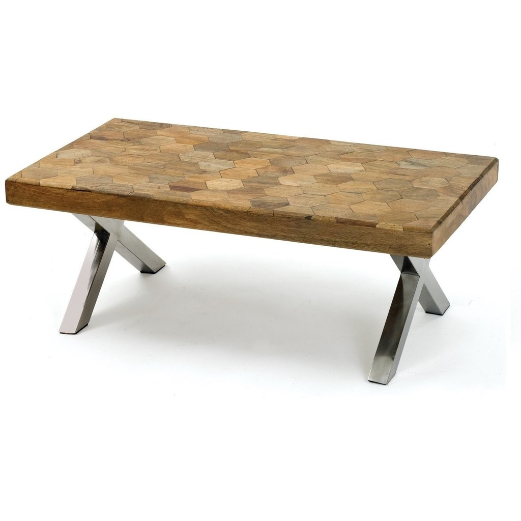 ikea skoghall coffee table oak small tables our wood and chrome features hand pieced parquet hexagon design that both contemporary warmly rustic finished with cross legs glass