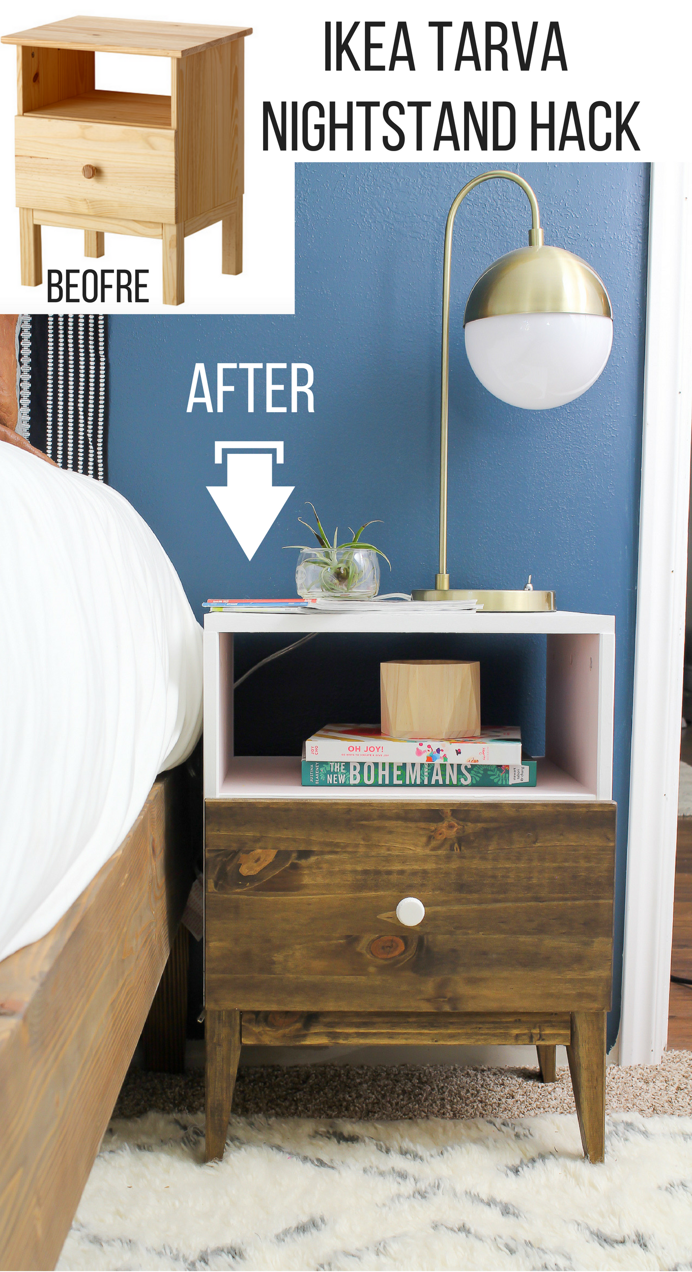 ikea tarva nightstand hack did again home zoey night accent table with baskets walnut check out what she this seriously cool almost didn recognize that was the grohe rainshower