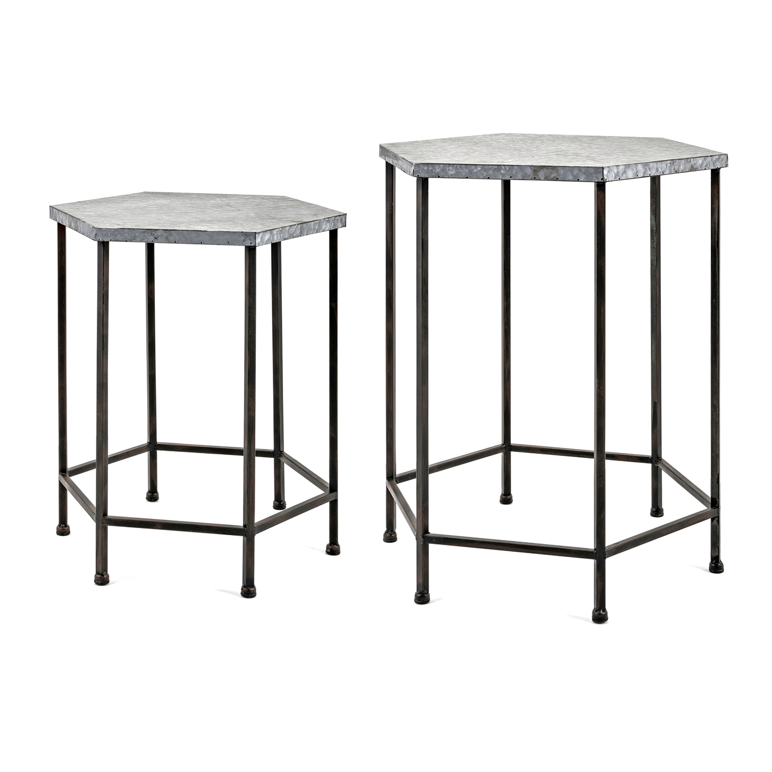 imax kendan galvanized accent tables set bellacor metal table hover zoom kitchen and stools plastic garden furniture sets carpet transition piece marble demilune console iron
