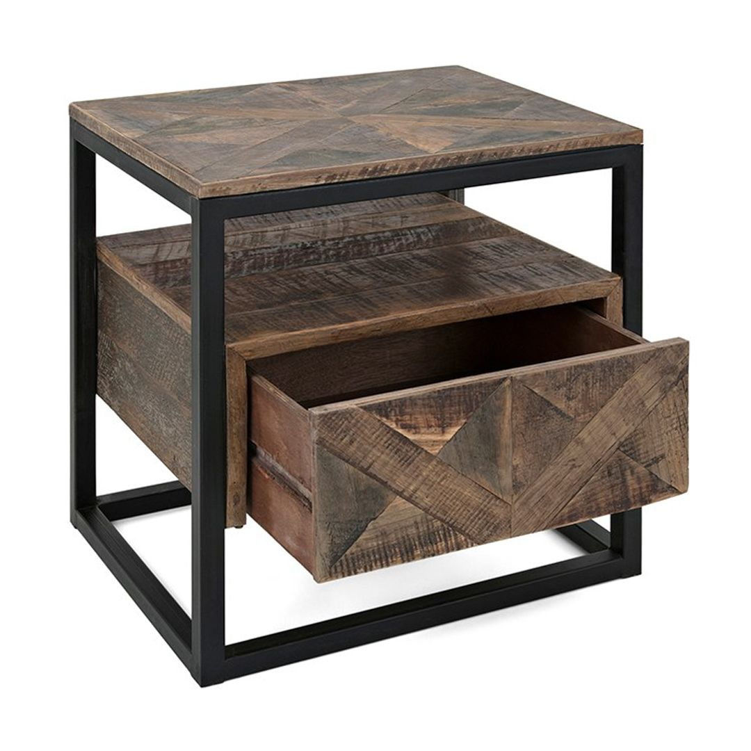 imax loxias reclaimed wood accent table farmhouse rustic tables accentuate your space and stylize any corner room with this outdoor beach decor patio buffet black white geometric