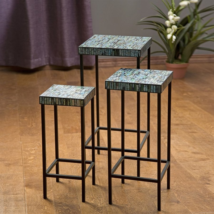 imax worldwide aramis piece blue green mosaic accent table set oil rubbed bronze drum tables living room mid century modern and chairs white lamp base porcelain fine furniture