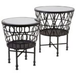 imax worldwide home mirrors zaria drum mirror accent tables products color black mirrored table mirrorszaria set west elm globe lamp dinner placemats distressed blue striped 150x150
