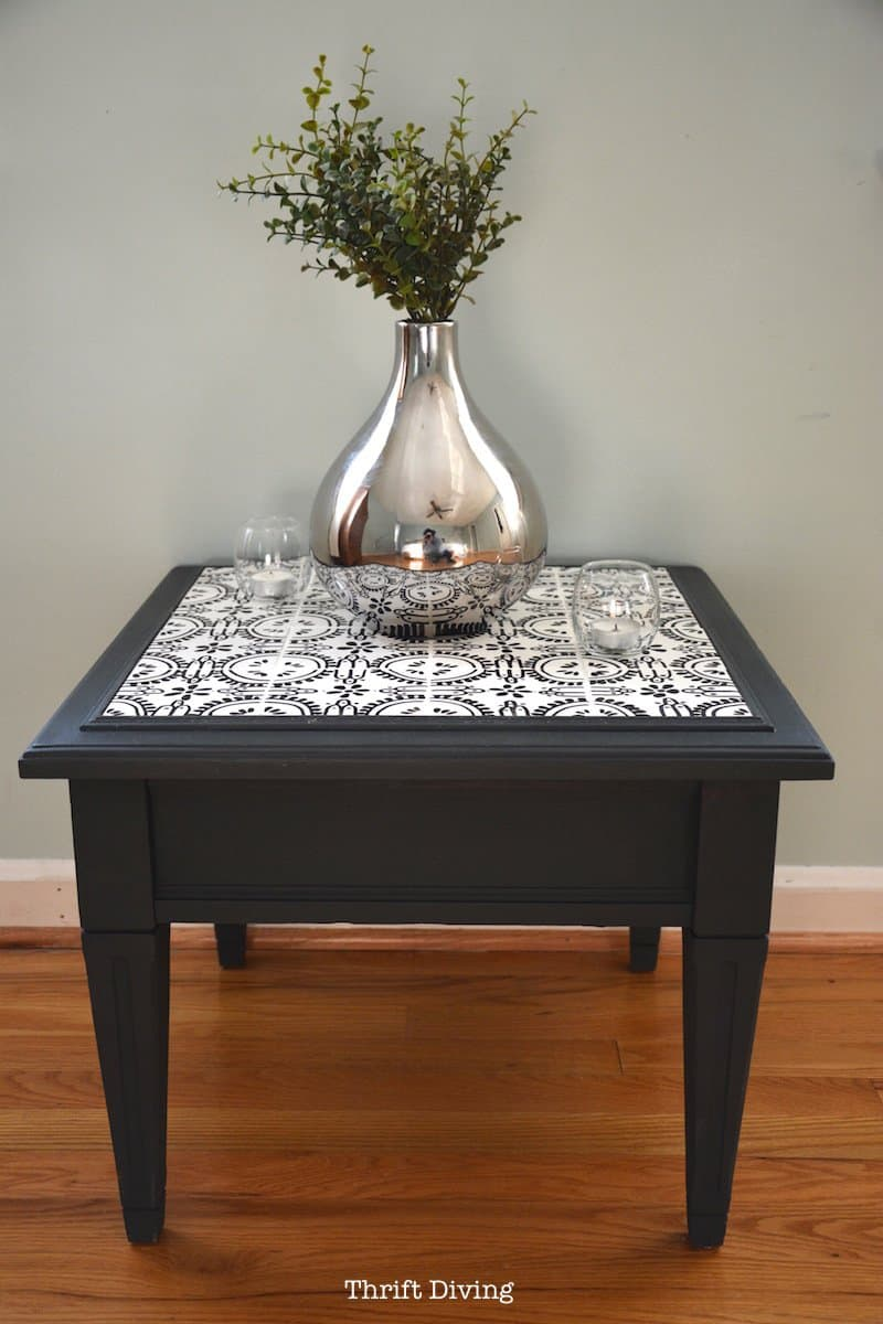 impressive diy end tables for any space how tile table top thrift diving pottery barn jamie accent refurbished with ceramic tiles wine rack below bar large turned legs cube ikea