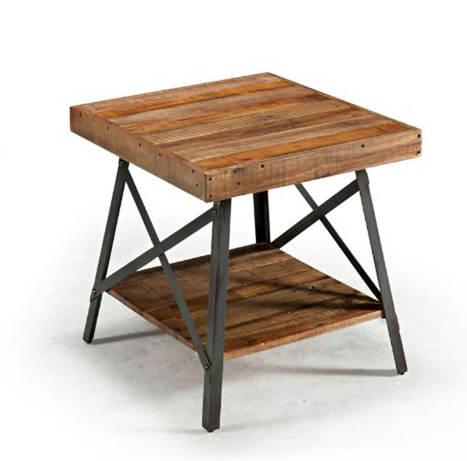 impressive iron accent table with rustic industrial reclaimed wood metal end outdoor battery powered bedside light build side small plans chair usb port pieces for shelves