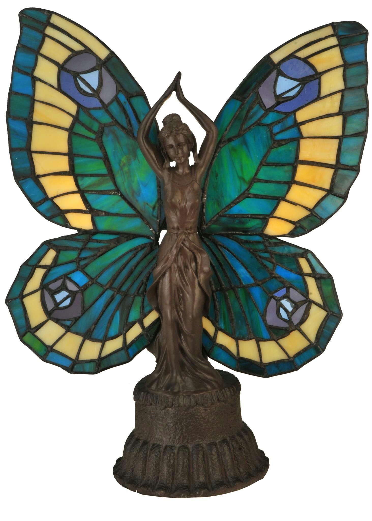 inch butterfly lady accent lamp products glass table tiffany art lamps shades clearance deck furniture lighting round decorator cloth coral home accents coffee calgary stool high