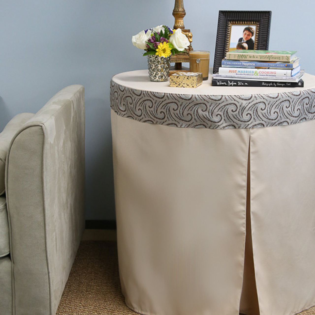 inch natural round table cover accent with tablecloth little bedside bedroom side tables small silver coffee pottery barn kitchen ashley furniture reclining sofa slim hallway