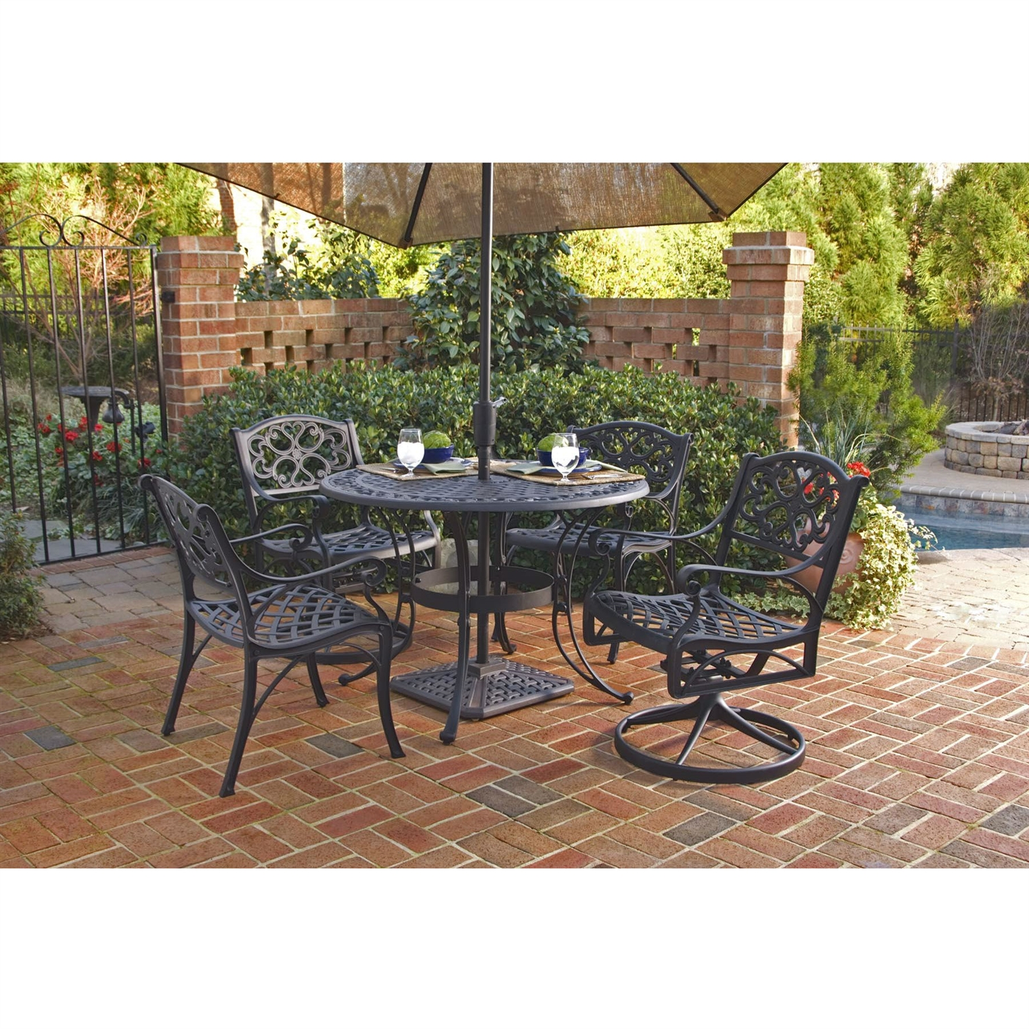 inch round black metal outdoor patio dining table with umbrella accent retail mirrored tray antique living room tables pottery barn square bar maple end lift top coffee target