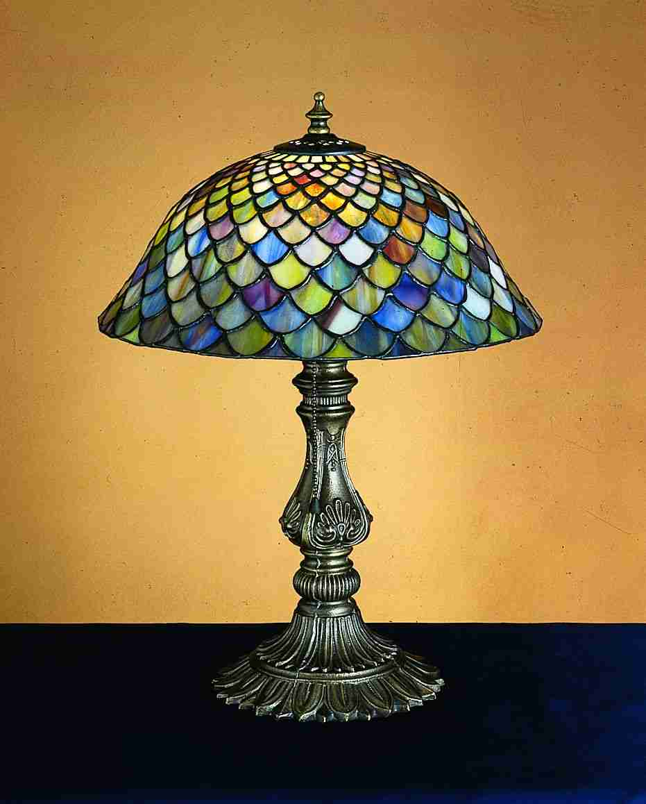 inch tiffany fishscale accent lamp table lamps blue water round gold glass coffee small farmhouse plastic garden furniture threshold windham cabinet backyard shade structures teal
