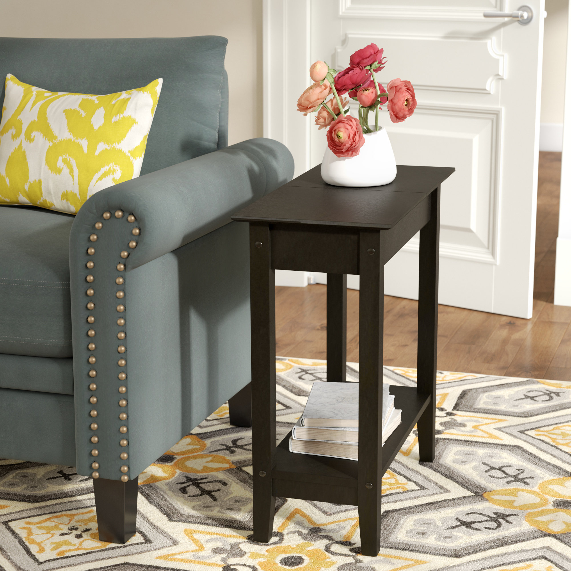inch wide side table lucile flip top end small half circle accent quickview low square coffee target wicker furniture chairside with attached lamp round black glass industrial
