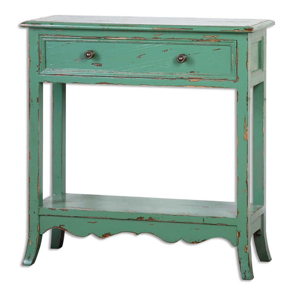 incredible green accent table with uttermost celso sea decorative interiors teal small glass console rustic entry dining decor ideas antique oak bedside tables top end entryway
