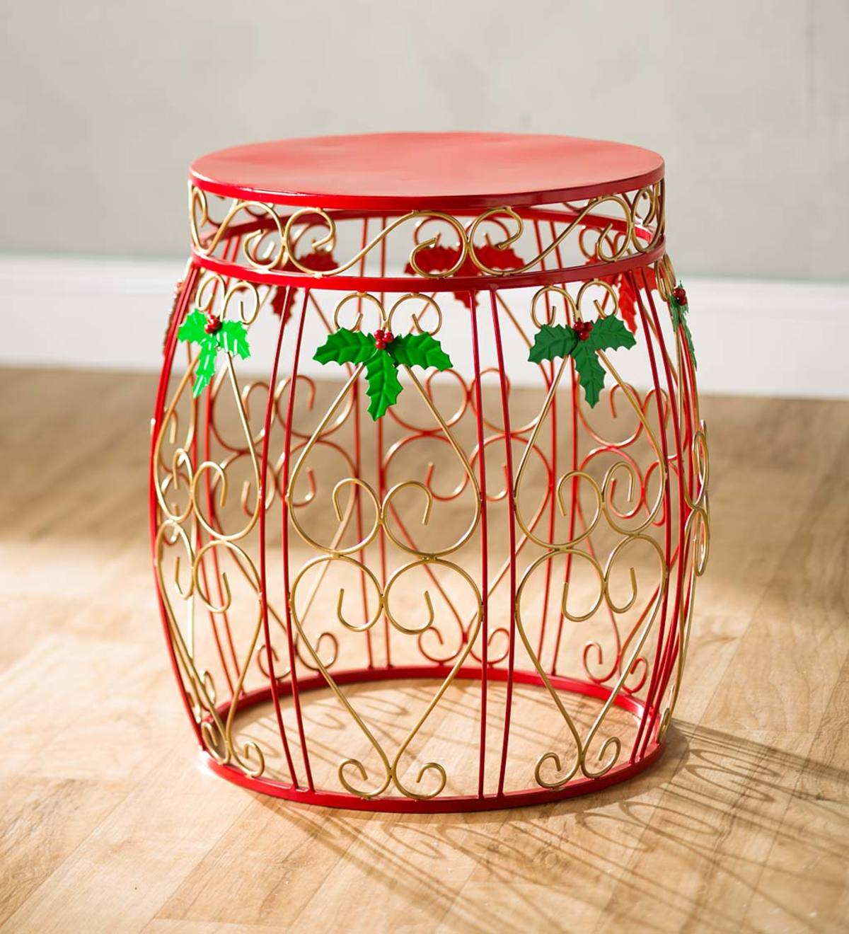 indoor outdoor holiday drum accent table plowhearth red metal pair lamps tool chest victorian couch windham console wood patio dining light end tables target marble glass top side