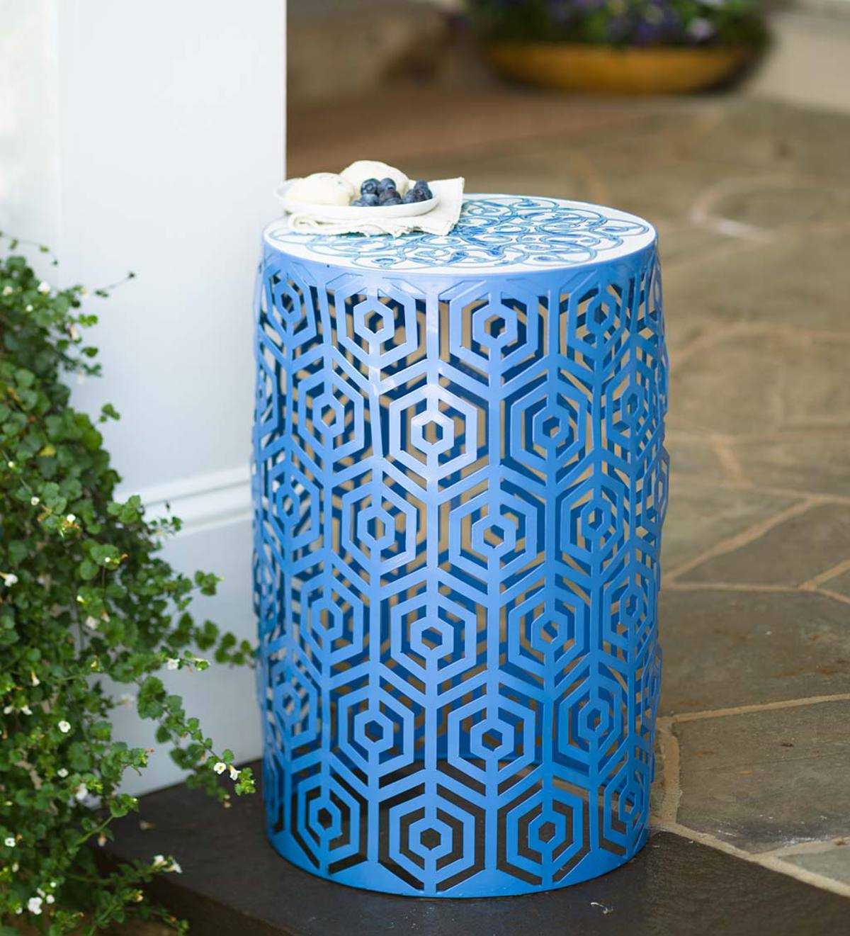 indoor outdoor lighted metal cutout side table with decorative top blue accent butler coffee battery lamps end designs diy round small rectangular patio inch cabinet rectangle