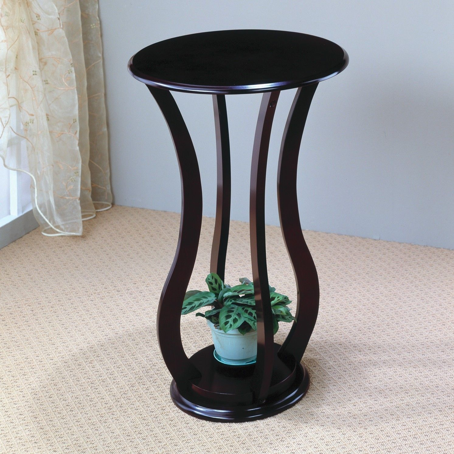 indoor plant stand wood round pedestal accent table modern display furniture new bronze bedside nautical decor brown entryway glass coffee and end sets retro wooden chairs side