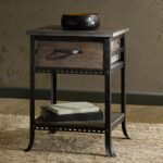 industrial accent table end side nightstand rustic distressed metal wood pier one imports and chairs waterford crystal lamps ikea white coffee green tablecloth patio umbrella 150x150