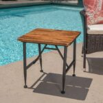industrial antique finished acacia wood end table black iron accent accents prev furniture and home decor settee side tables dining seats cast garden battery operated lamp with 150x150