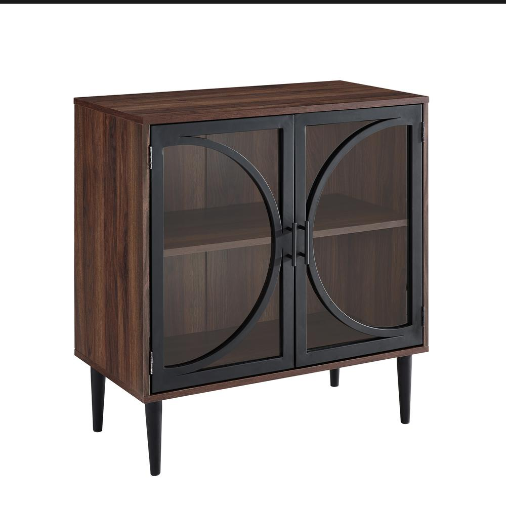 industrial chic accent cabinet with tempered glass doors dark table walnut desk drawers wood dining room and chairs small storage marble look bedside westminster furniture cherry
