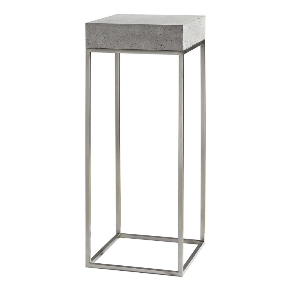 industrial concrete stainless steel plant stand accent table lucite cube pottery barn and chairs for toddlers with wine rack underneath console furniture acrylic side tables