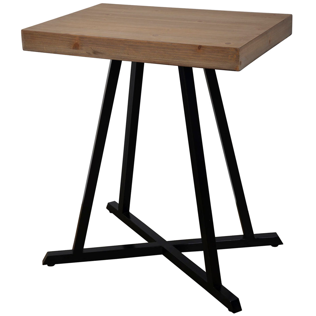 industrial cross base accent table home pottery barn and chairs for toddlers round nesting end tables metal with drawers outdoor seating antique oak value lamp usb port lucite
