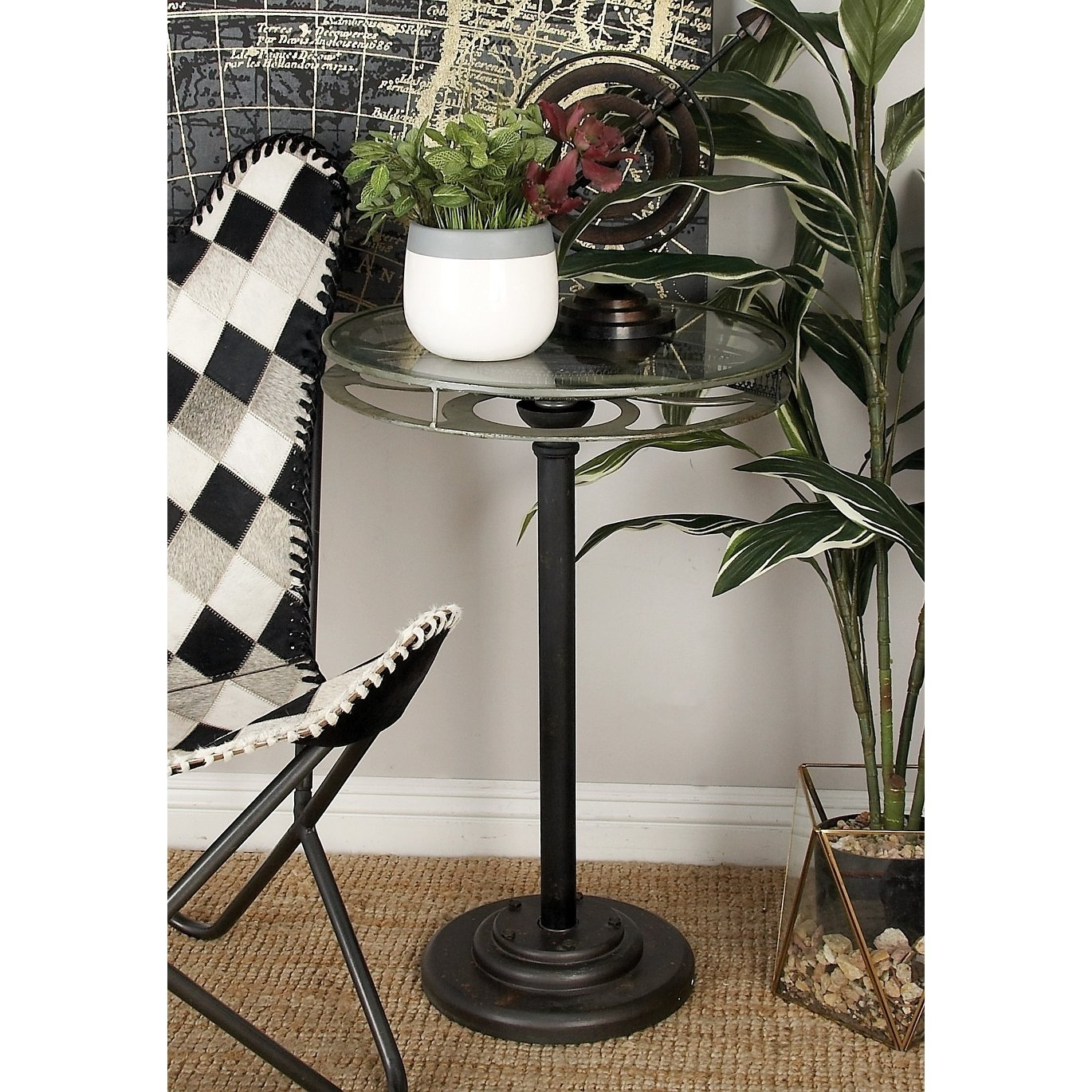 industrial inch black movie reel accent table studio umbrella free shipping today ikea garden furniture metal and glass patio nautical bedroom decor linen mats small with folding