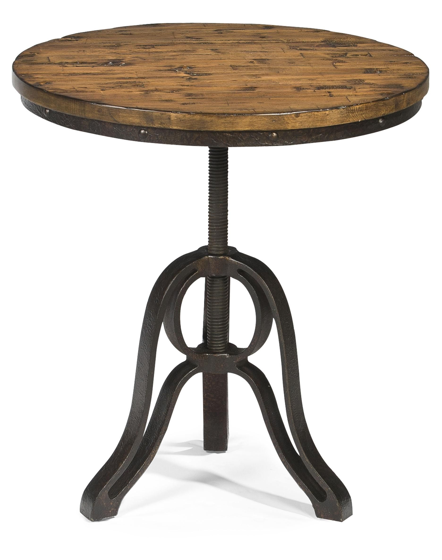 industrial metal round side table cranfill style accent end with adjustable height wine rack underneath college dorm ping floor length mirror ralph lauren tablecloth jcpenney bar