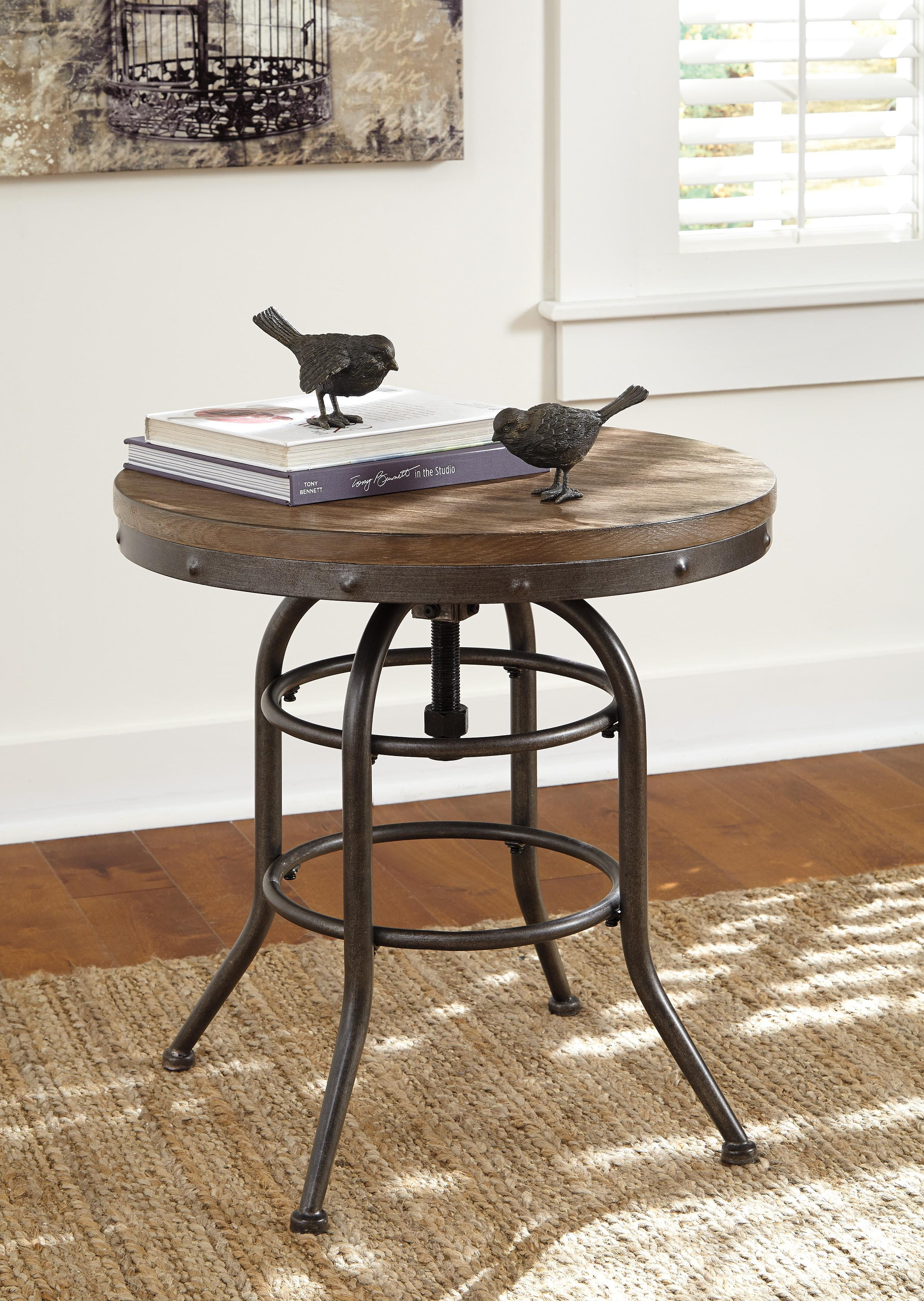 industrial style round end table with adjustable height signature products design ashley color rustic accents modern farmhouse accent contemporary lamp shades small coffee sets