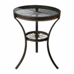 industrial style rusted black metal accent table spoked wheel design sterling furniture with pier one coupons half round coffee solid wood mirrored target yellow side zebra chair 150x150