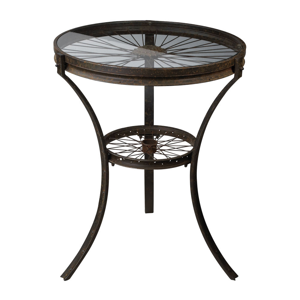 industrial style rusted black metal accent table spoked wheel design sterling furniture with pier one coupons half round coffee solid wood mirrored target yellow side zebra chair