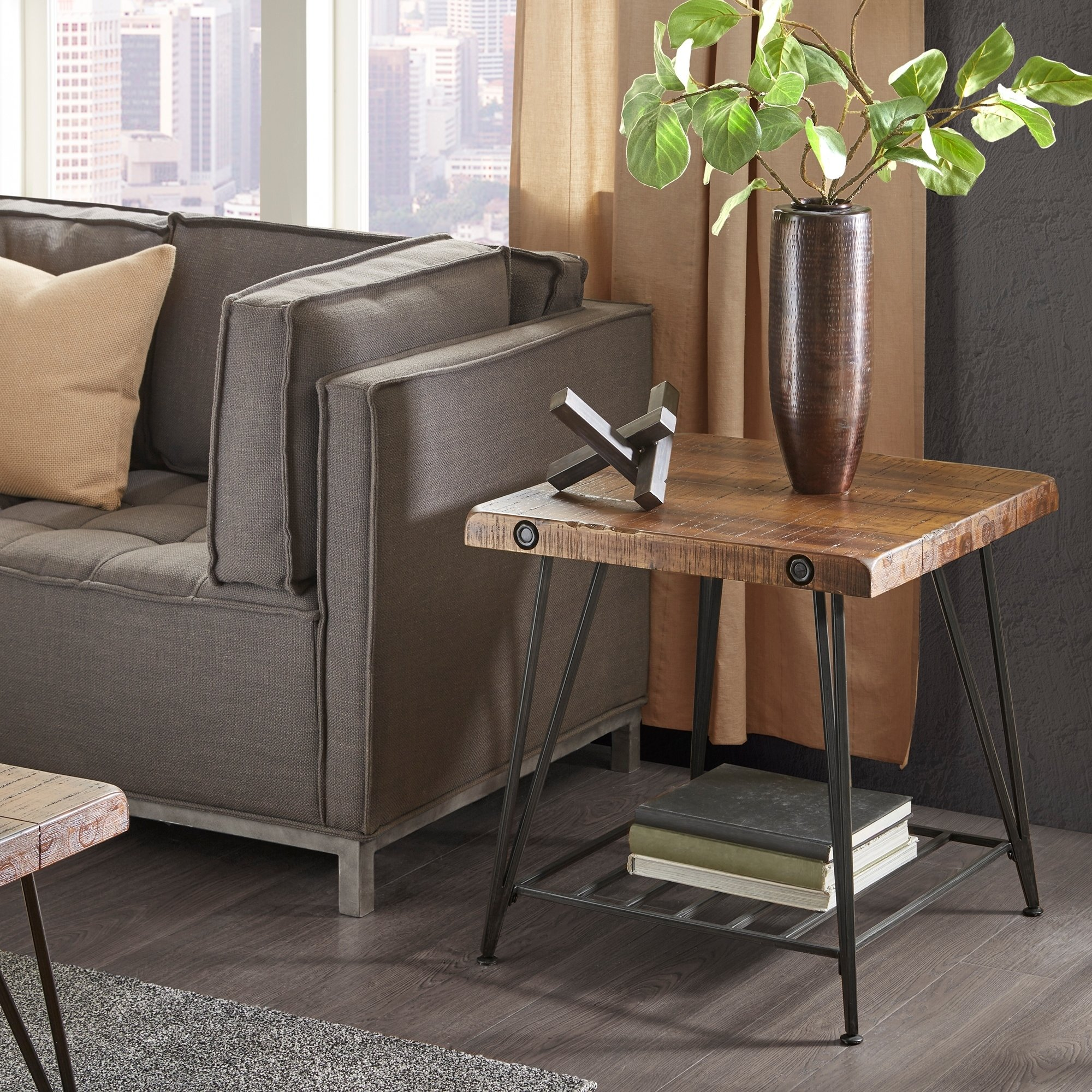 ink ivy trestle dark brown end table free shipping today room essentials accent marble gold coffee formal dining chairs wrought iron outdoor bookshelf natural cherry tables mats