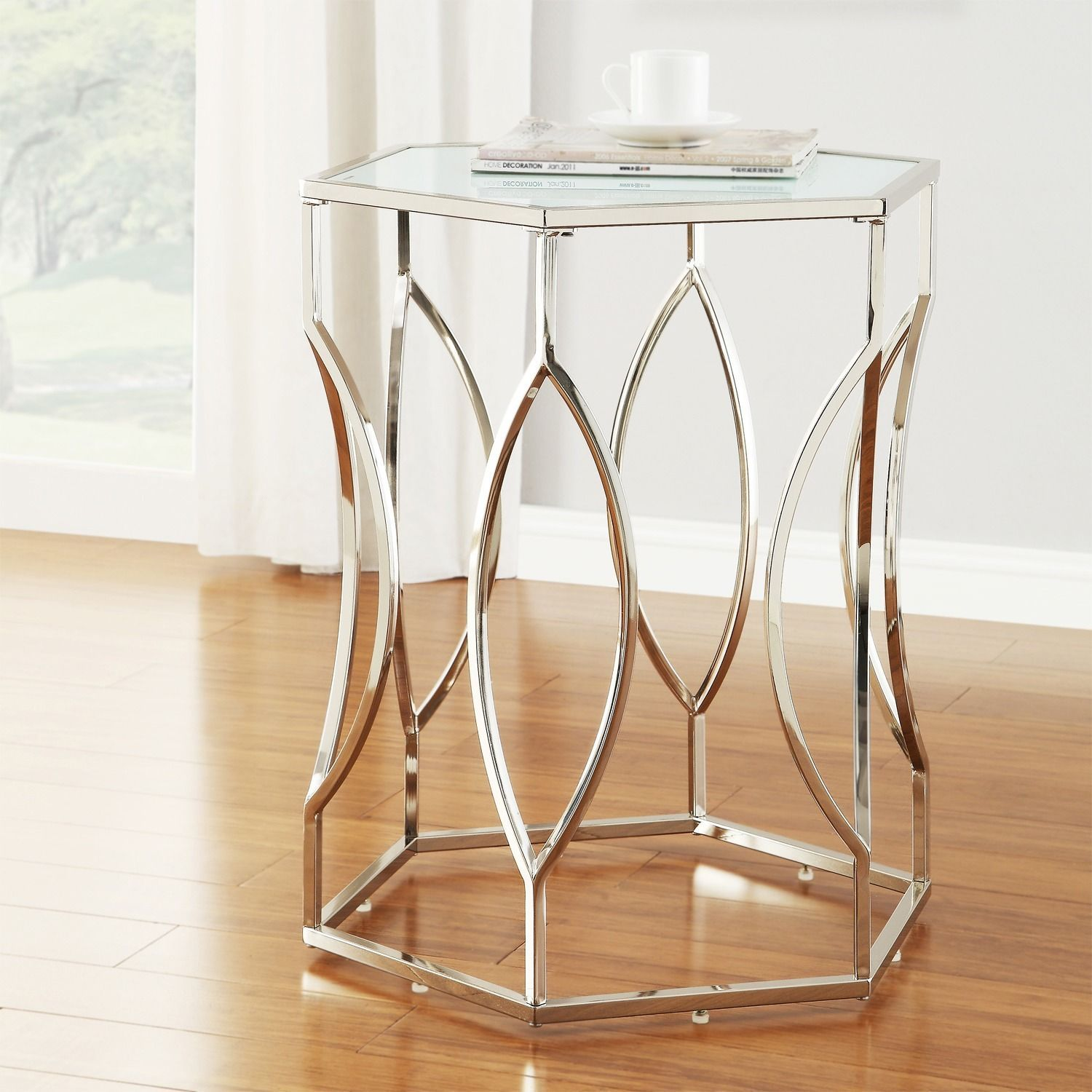 inspire davlin hexagonal metal frosted glass accent end table tables ping great coffee sofa homegoods console bedside dresser second hand kitchens rustic home decor purple