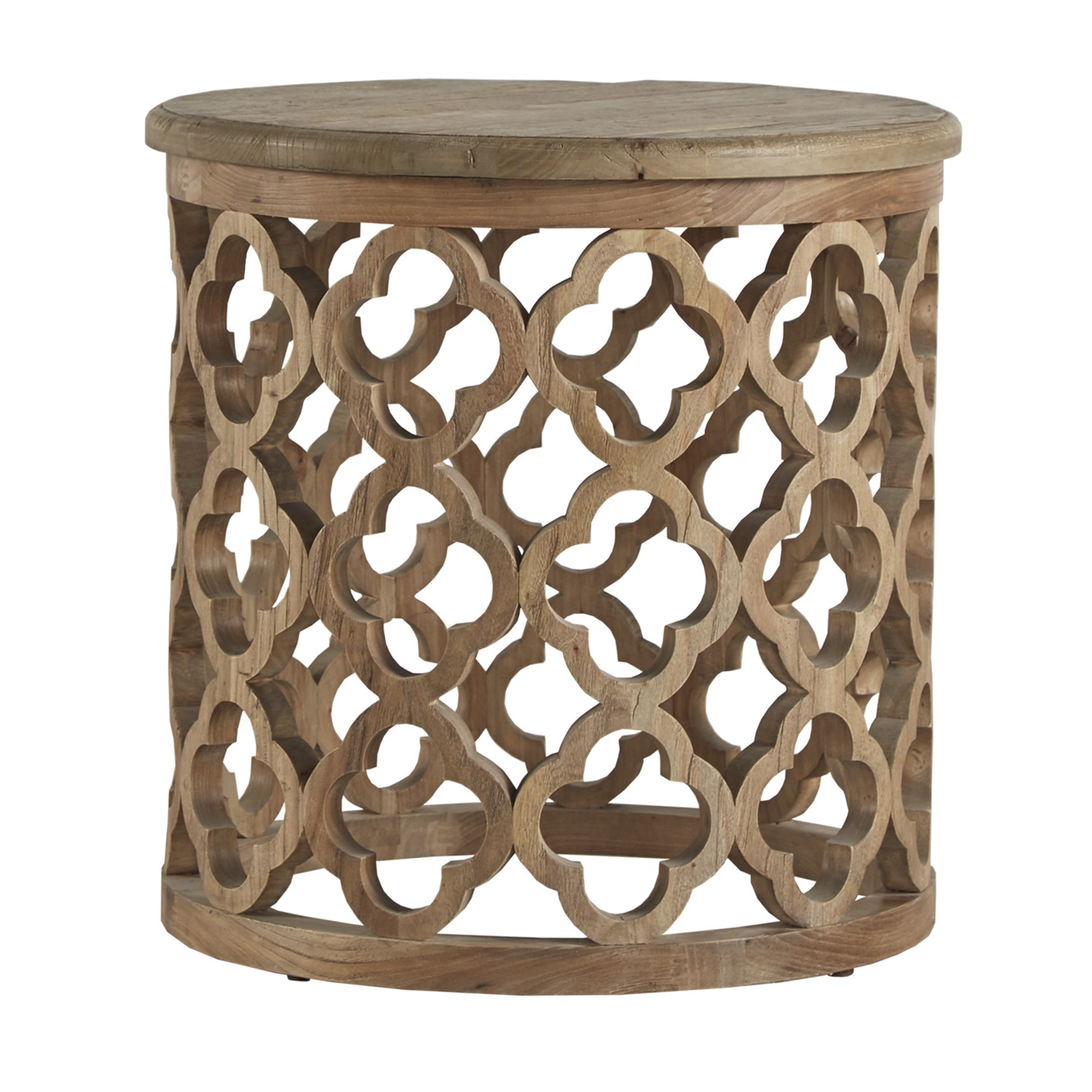 inspire vince reclaimed wood moroccan trellis drum accent table outdoor departments mirrored chest drawers ikea breakfast skinny bedside cordless lamps unfinished nightstand