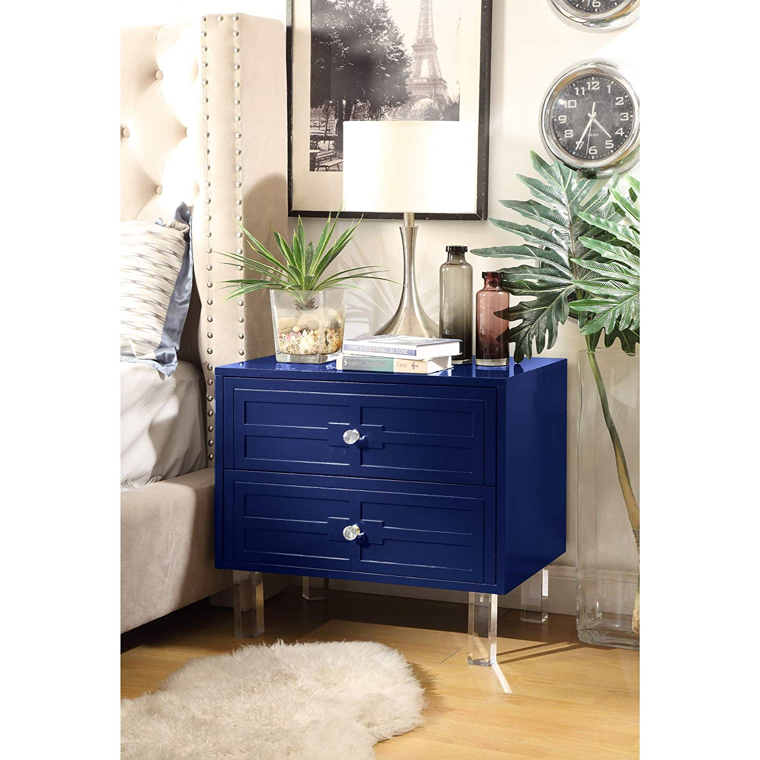 inspired home navy blue nightstand design donatello accent table drawer side acrylic legs lacquer finish kitchen dining rectangle drop leaf high end chandeliers ashley set