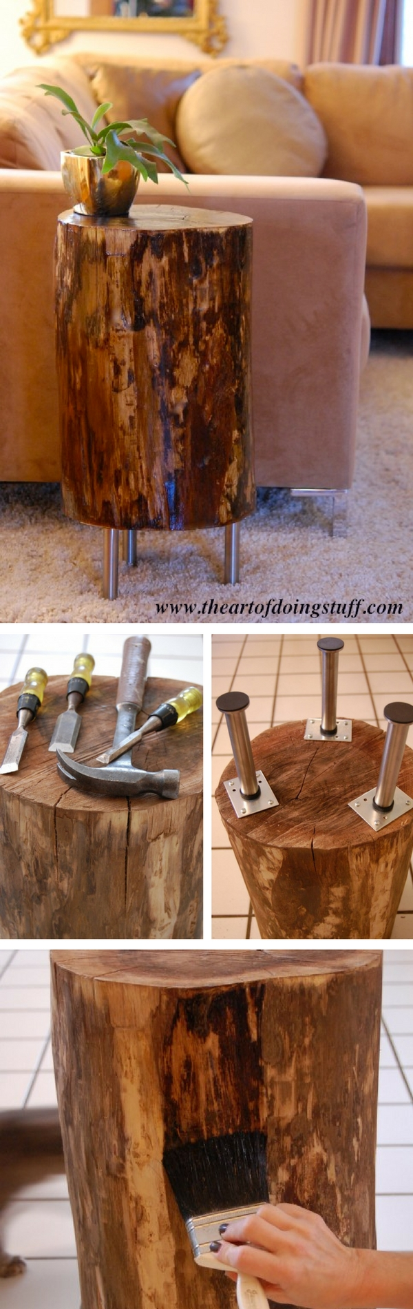 inspiring diy tree stump projects for rustic decor table trunk accent how make side tall mirrored rectangular outdoor umbrellas futon covers kohls hammered metal top coffee white