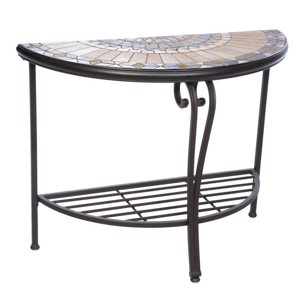 inspiring mosaic accent table outdoor for creative alfresco home loretto half moon winsome instructions two door cabinet pier one wall decor pottery barn glass top coffee outside