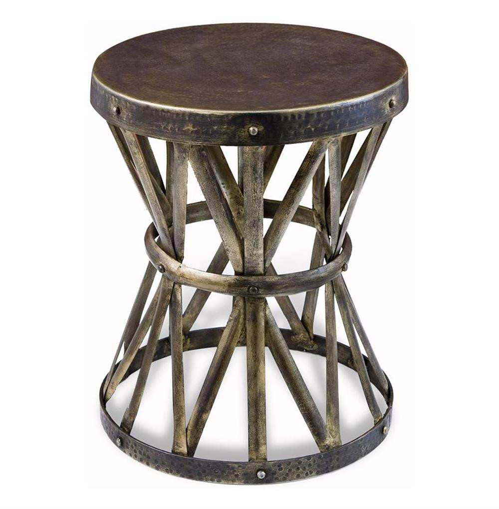inspiring rustic round end table for zemico hand forged hammered side distressed accent target metal coffee yellow umbrella patio parasol tiffany stained glass chandelier old