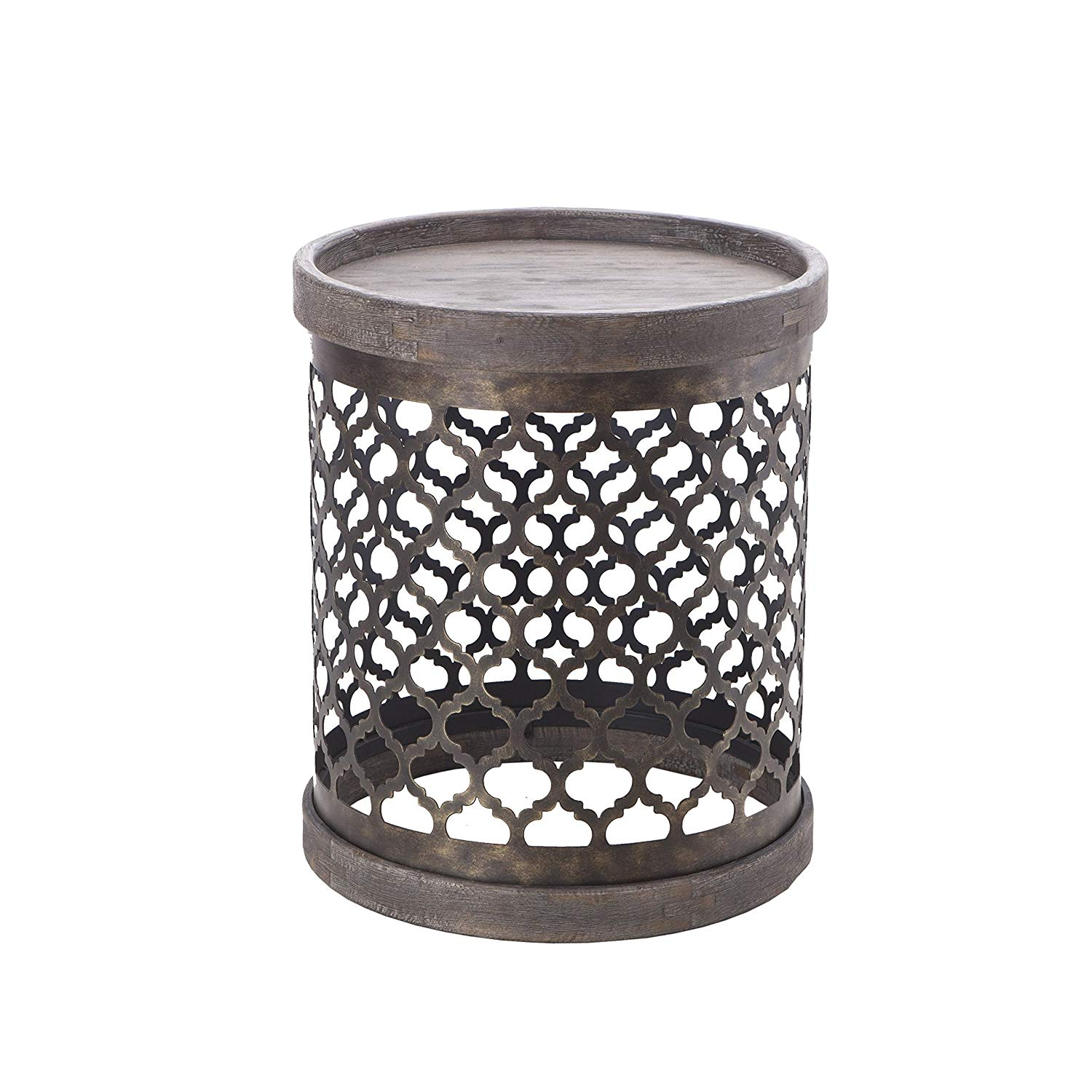 intelligent design cirque accent tables metal side quatrefoil table grey drum modern rustic style end piece round small wooden frog instrument dark wood console bedroom chairs for