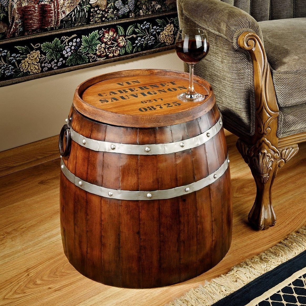 interior design toscano french wine barrel side table metalware construction wood metal vintage end accent rustic home decor sides and top replicate real oak aged iron west elm