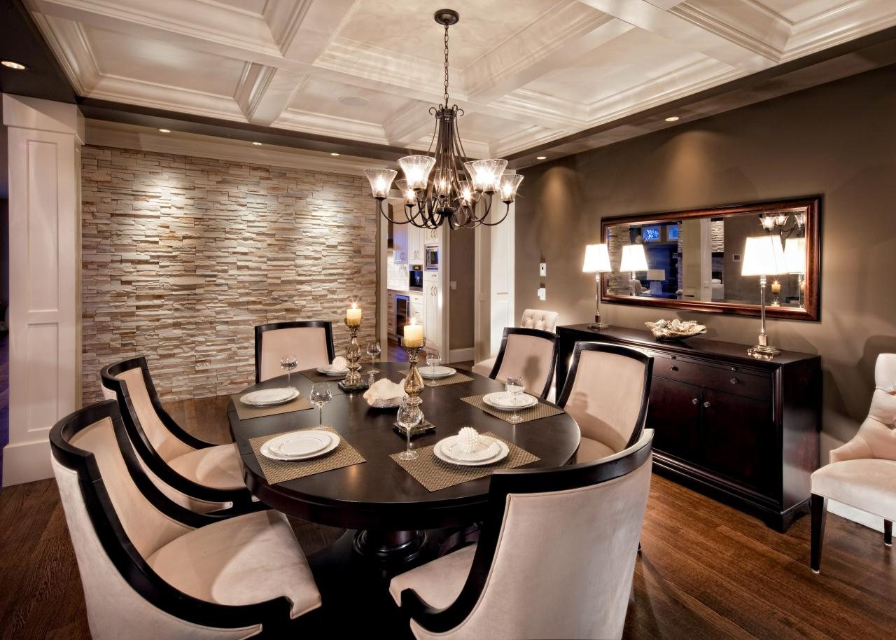 interior different when choosing dining room accent walls dark furniture sets wallpaper rectangle green sectional rug metal chrome chandelier lighting round brown table black iron
